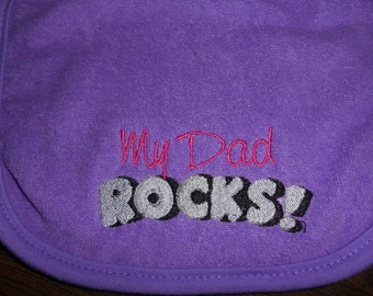 Baby Bib, *My Dad Rocks, Purple Bib, Baby Girl Bib, Baby Shower Gift, Baby Gift, Child Care, Babies, Bibs, Baby Embroidery