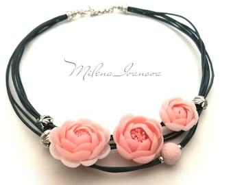 Necklace Jewelry Polymer clay Necklace Flower   Handmade Jewelry Romantic Necklace