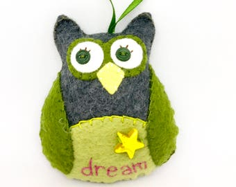 Hand Stitched Wool Felt Owl Ornament, Dream Owl, Car Charm, Felt Owl Ornament, Hand Embroidery, Wool Felt Owl,  Inspirational Owl