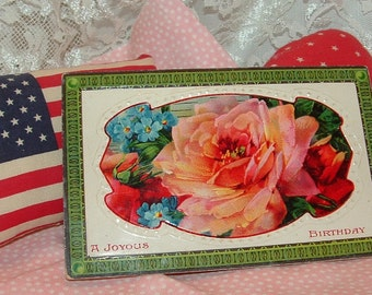 1910 Postcard printed in Germany '' A Joyous Birthday'' Pink Rose and Blue Forget -Me-Nots