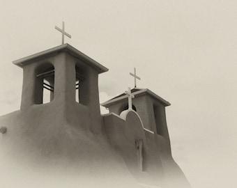 Taos photography -  Adobe Faith - Southwest architecture - Fine art travel photography - Sepia - Elegant minimalism, vintage