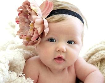 Soft Lace Baby Headband with Elegant Mauve Flower Sizes Newborn-Adult