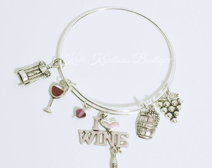 Featured listing image: I Love Wine bracelet, Adjustable Bangle, Expandable, Stainless Steel.