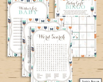 Tribal Baby Shower Games Activities Package Boho Arrows and Feathers Boy Navy Orange Green DIY INSTANT DOWNLOAD Pdf TR003