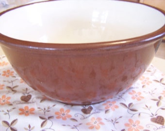 Vintage 1930's Brown Stoneware Mixing Bowl, Large Bowl,Country Chic, Rustic Kitchen, Farmhouse