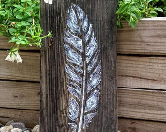 Feather Sign, Boho Decor, Boho Feather Sign, Feather Wall Art, Tribal Feather Sign, Wooden Signs, Feather Art, Indian Feather Sign, Feather