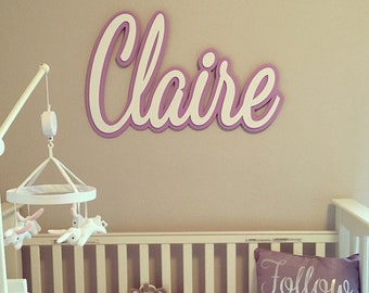 Large Wooden Letters//Wooden Name Sign//Nursery Name Sign//Baby Name Sign//Cursive Name Plaque//Script Name Sign//Script Name Plaque