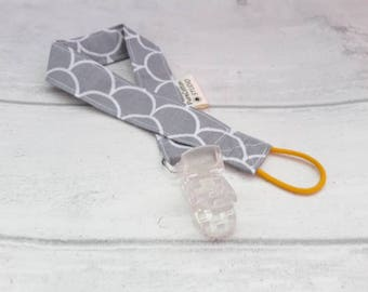 grey soother clip - Pacifier Clip - Dummy / Binky Clip - MAM ring - baby toy clip - toy leash - teether clip - teether strap - soother strap