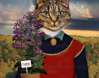 Cat Lady Print, Funny Cat, Tabby Cat Print, Whimsical Animal Art, Funny Cat Art, Woman with Plants, Whimsical Grant Wood, Catnip Plant