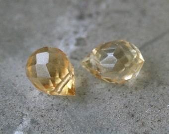 Citrine Quartz faceted teardrop briolettes, 1 matched pair
