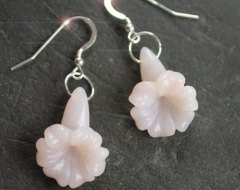 The Power of Pink - Carved Peruvian Pink Opal Drop Sterling Silver Earrings