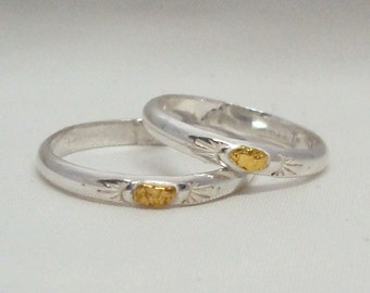 Sterling Silver and Gold Nugget - Single Nugget Ring