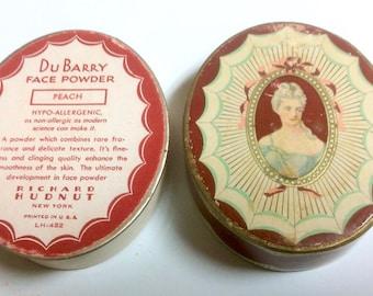Vintage DuBarry Face Oval Powder Box Richard Hudnut Heavy Cardboard