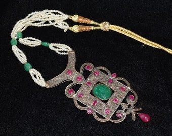 Antique 14KT 17CT Zambian Emerald 21CT African Ruby 5CT Rose Diamond Necklace