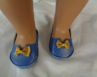 "Navy Blue and Gold 18"" Doll Sandals-Shown on my american girl doll"