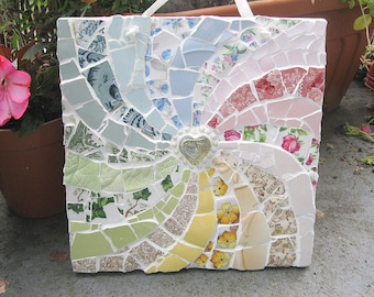 Shabby chic rainbow mosaic - Free post to the UK!