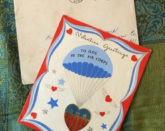 1944-Red,White and Blue Valentine Card-Air Corps-WWII