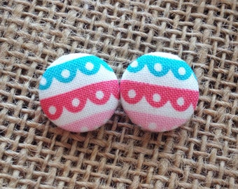 CLEARANCE!  Ribbons Button Earring