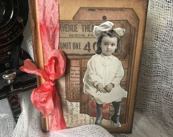 notebook - notes - hard covered - decorated - vintage -  - gift - little girl - brown - coral - vintage ephemera - collage