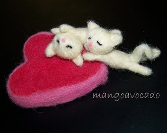 RESERVED FOR Millamma Needle felted Valentine's Day Sleepy Lovers