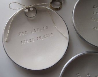 personalized Ring Bearer Bowl with silver leaf rim, custom wedding ring dish by Palomas Nest