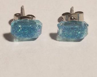 Small Rectangle blue glitter stud earrings