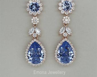 Chandelier Earrings Purple Crystal Earrings Violet Wedding Earrings Swarovski Crystal Drop Earrings in rose gold, silver