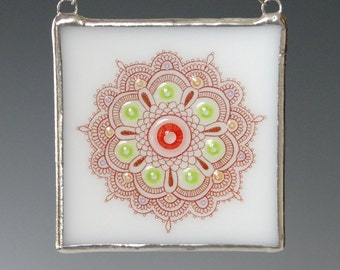 Mandala Fused Glass Suncatcher Light Catcher Mendhi Multicolor