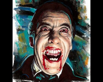 "Print 11x14"" - Dracula - Christopher Lee Horror Dark Art Vampire Peter Cushing 50s Gothic Halloween Classic Monster Blood British Lowbrow"