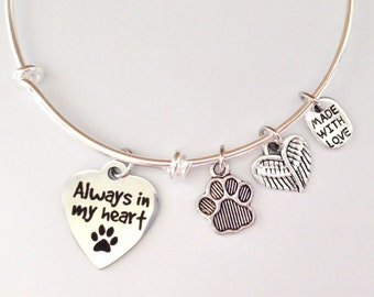 Pet Loss Charm Bracelet, Always in my Heart, Pet Memorial
