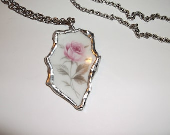 Vintage  Broken China Pink Rose Silver Necklace Silvertone chain Sale
