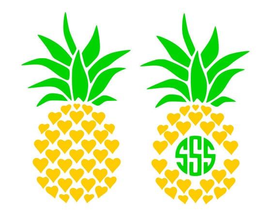 Download Pineapple heart svg, Pineapple monogram frame svg ...