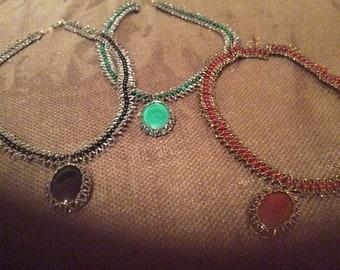 Semi-Precious necklace with beaded cabochon