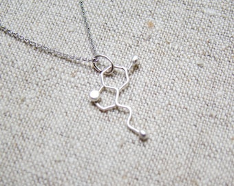 Silver Molecule necklace - serotonin molecule necklace, Happiness silver molecule jewelry