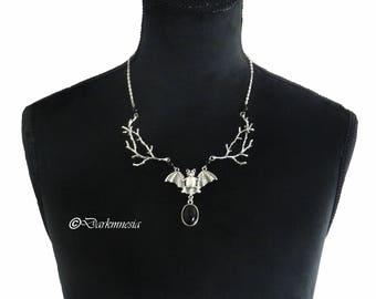 Necklace, onyx, black, bat, branch, tree, goth, gothic, witch, satanic, vampire