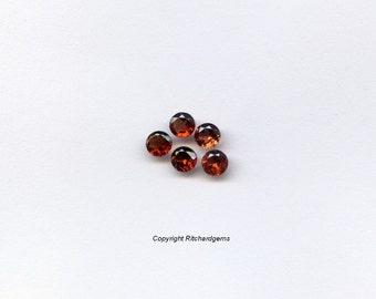 Beautiful Burnt Orange Semi Precious 3 mm Faceted Round Brilliant Orissa Garnet AAA For ONE
