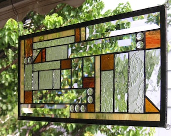 """Stained Glass Window Panel--Mission Style Study Geometric -10"""" x 19"""""""
