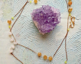 Chiara apatite, moonstone and yellow jade delicate convertible necklace