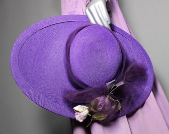 Purple Passion 1940s Wide Brim Hat Race Day Church Weddings