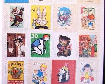 """Stamp sticker stickers for scrapbooking retro vintage """"model 12"""" 1 embroidery sheet of 20 stamps"""