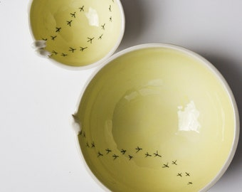 modern serving bowls, ceramic bowl with birds, Tweet Bowl by karoAr, handmade Irish pottery, bright yellow, simple ceramics and pottery