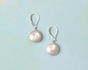 Freshwater Coin Pearl Sterling Silver Earrings