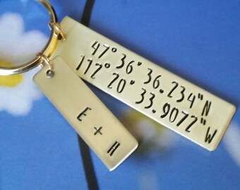 Long distance boyfriend Gift for boyfriend latitude longitude keychain long distance relationship one year anniversary gift for him
