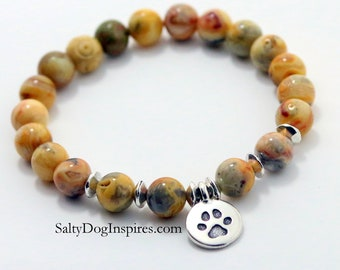 Dog Pet MEMORIAL Bracelet Paw Print Bracelet, Pet Memorial Bracelet, Dog Charm Bracelet, Pet Jewelry, Pet Jewelry, Pet Gift, Pet Loss gift