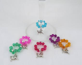 Equis (Set of 6 Horse Themed Memory Wire Wine Glass Charms)