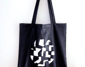 Tote Bag Noir - coton - 40 x 38 cm - Illustration Planète