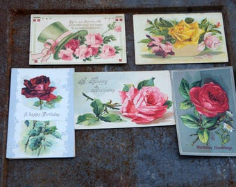 Vintage Rose Postcards, Set of 5 Postcards Vintage Rose Cards, Vintage Birthday Postcards, Great Scrapbook Supply Craft Supply