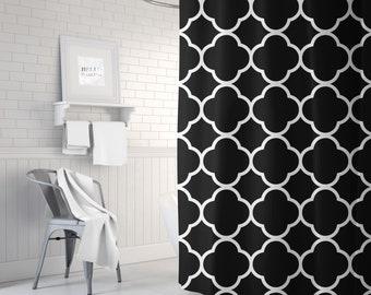 Black and White Quatrefoil Shower Curtain, Girls Bathroom Decor, Black Bath Curtain, Fabric Shower Curtain, Standard or Extra Long