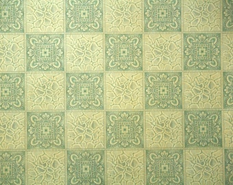 1920s Vintage Wallpaper by the Yard - Antique Wallpaper Gray and Gold Geometric Tiles