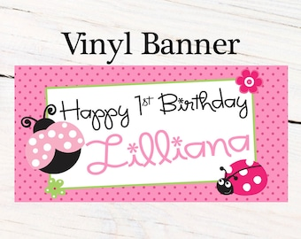 Adorable Lady Bug Personalized Banner, Happy Birthday Personalized Party Banners- First Birthday Banner, Pink Lady Bug Banner, Custom Banner